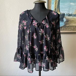 AEO rose floral long sleeve peplum top size small